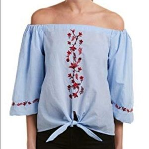 Beach lunch lounge blue red embroidered tie top M